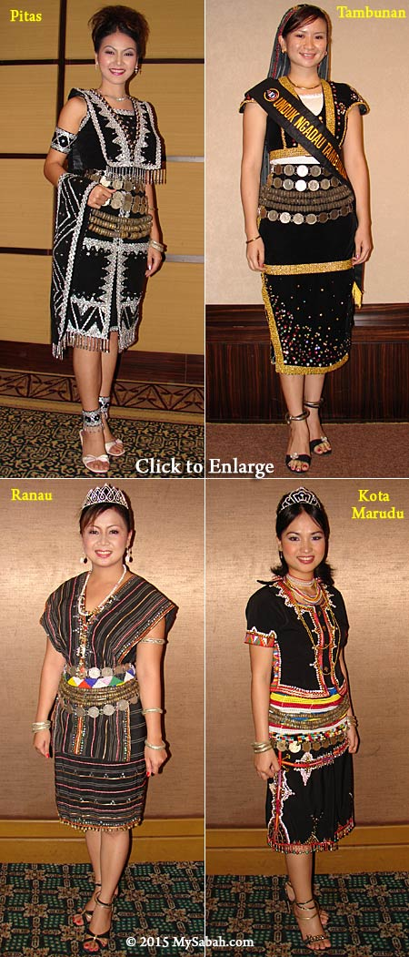 Tangkong worn in different Sabah ethnic costumes