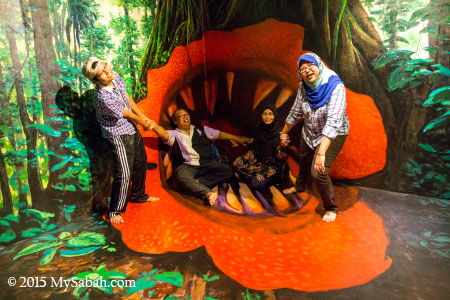 3D wall and floor painting of man-eating rafflesia flower