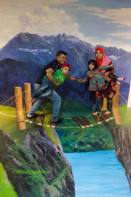 Mt. Kinabalu and broken bridge