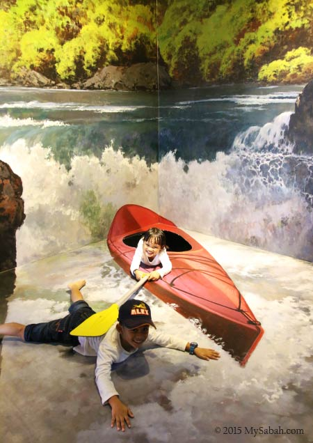 mural of white water rafting in Kiulu
