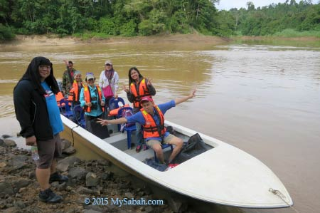 ready for river cruise on Kinabatangan