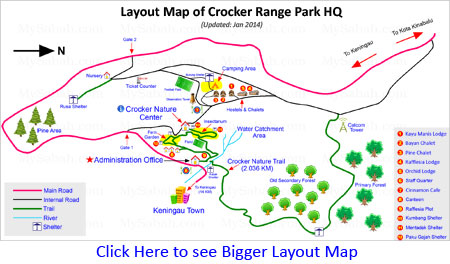 Layout map of Crocker Range Park