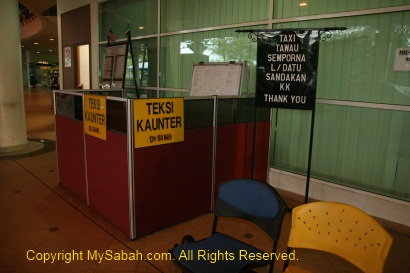 Taxi counter in Tawau Airport