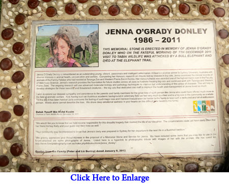 Memorial stone for Jenna O'Grady Donley