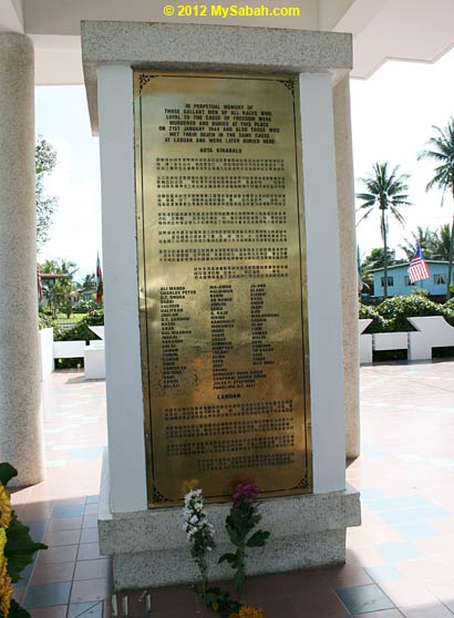 names on plaque of Petagas war monument