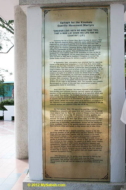 history of Double Tenth Revolt on Petagas war monument