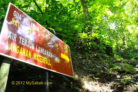 signage to Langanan Waterfall