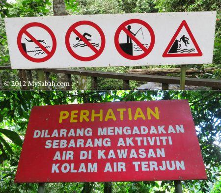 warning notice at Madai Fall