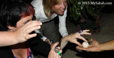 tourists touching turtle egg