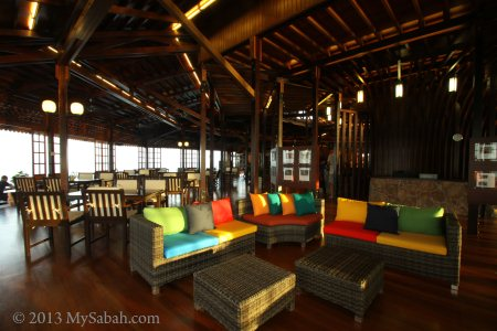 colorful sofa in restaurant