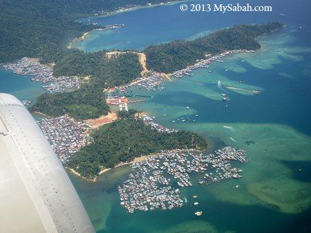 Gaya Island and water villages