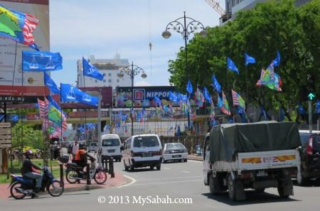 party flags in Kota Kinabalu