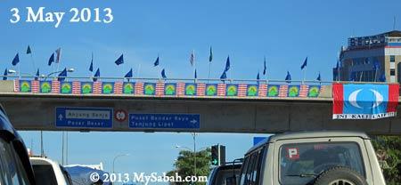 party flags in Kota Kinabalu junction