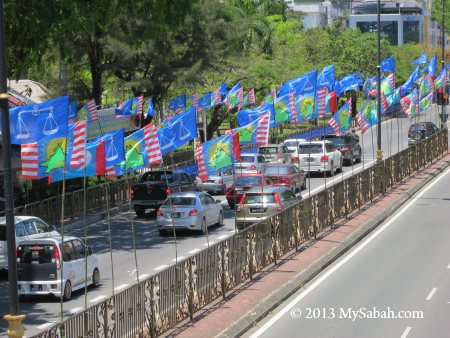 party flags next to road