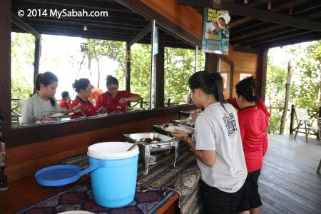 enjoying lunch buffet on Sepanggar Island