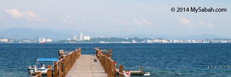 view of Kota Kinabalu city from Sepanggar Island