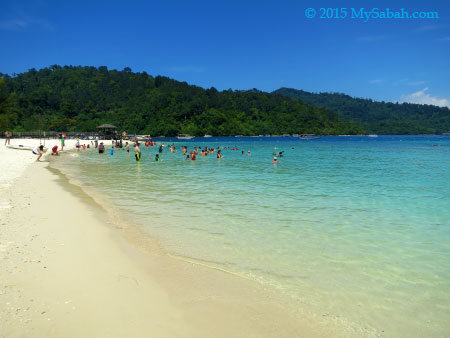 white sandy beach of Pulau Sapi