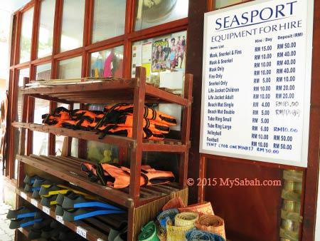 seasport gears for rent
