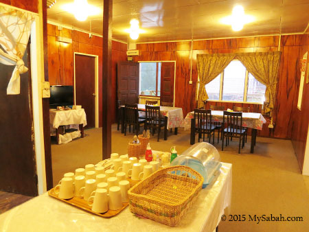 dining hall of Mile 36 Lodge