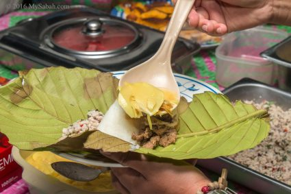 Linopot: rice and food wrapped in tarap leaf
