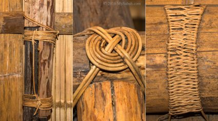Wood and poles bind by rattan ropes