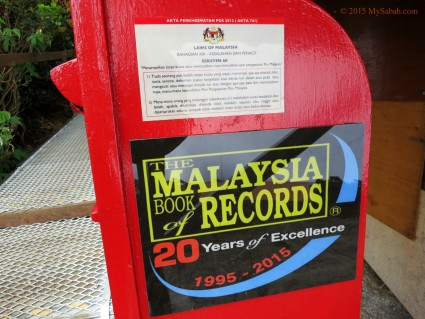 Record certified by Malaysia Book of Records (Highest Post Box of Malaysia)