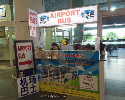 Airport Bus counter in KKIA (Ground Floor)