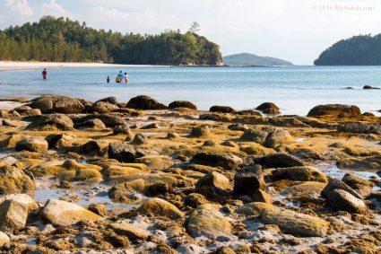 Rocky shore of Bawang Jamal Beach