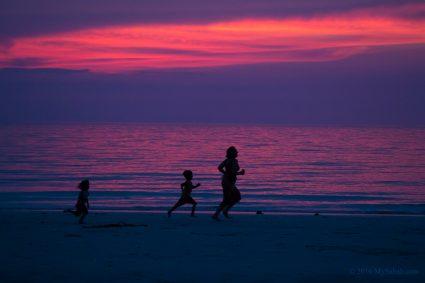 Sunset run on the beach