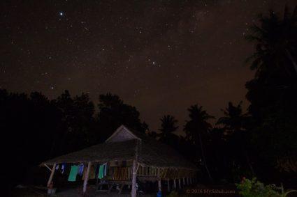 Longhouse under the starry sky