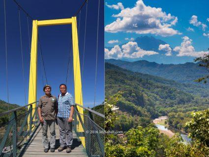 (left) Tamparuli Bridge and (right) view of Mt. Kinabalu in Kiulu