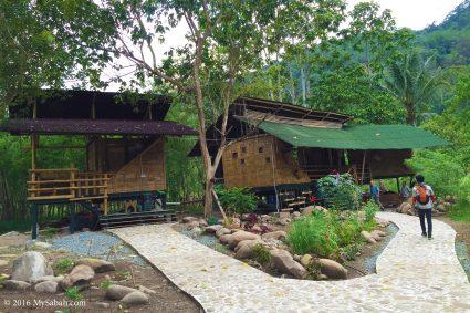Bamboo houses of Kiulu Farmstay (Fig Tree Resort)