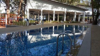 Swimming pool for guests and scuba diving courses