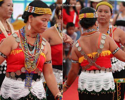 Himpogot worn as shoulder bands by a Murut Paluan woman