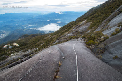 Wide and long rockface section of Kota Belud Trail