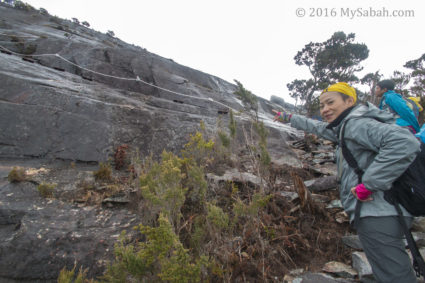 Starting point of the steepest rock climbing section