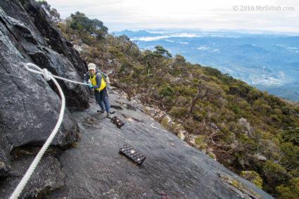Rock climbing section on Kota Belud Trail