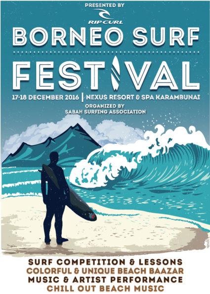 poster of Borneo Surf Festival 2017