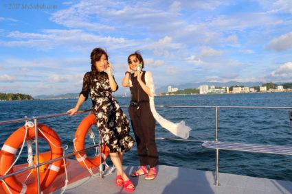 Cruising around the islands before sunset