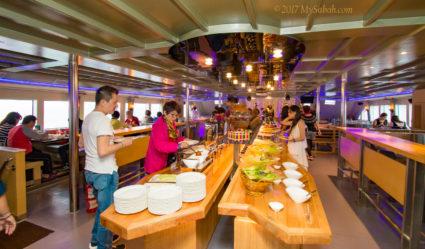 International dinner buffet served onboard