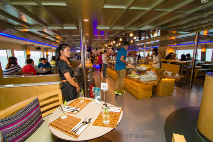 Spacious and comfortable lower deck area of North Borneo Cruises