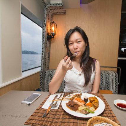 Having dinner onboard