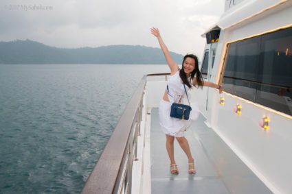 excited on a 92-feet big yacht