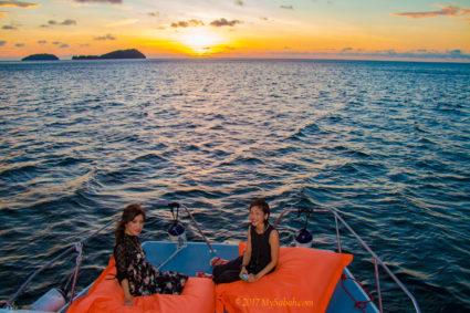 Sunset in open sea