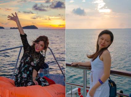 Happy time on different boats (left: Sea Tango, right: North Borneo Cruises)