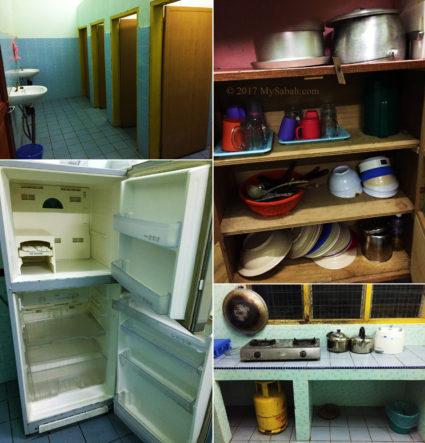 Toilet cum shower room, cooking area, utensils and refrigerator in Asrama Kanarom Hostel