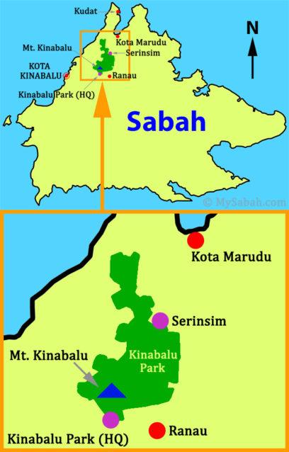 Location of Serinsim and Kinabalu Park