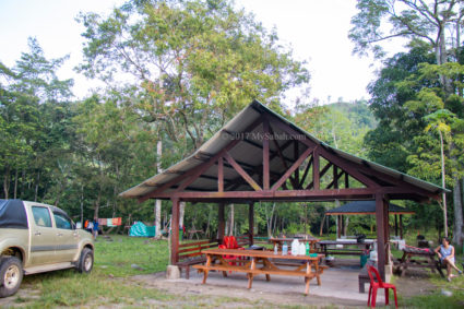 Gazebo and benches at camping site