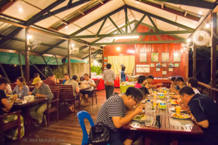 Buffet dinner at dining hall of Nature Lodge Kinabatangan
