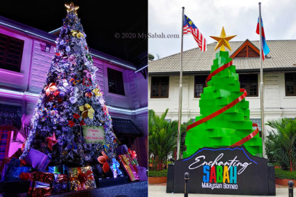 Christmas Tree Lighting in 2018 (left) and 2019 (right)